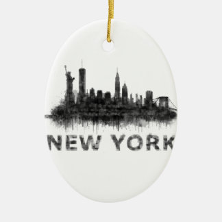 New York Dark-White Skyline v07 Ceramic Oval Ornament