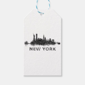 New York Dark-White Skyline v07 Gift Tags