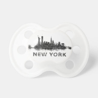 New York Dark-White Skyline v07 Pacifier