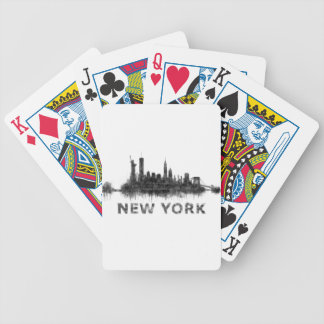 New York Dark-White Skyline v07 Poker Deck