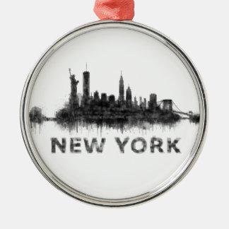 New York Dark-White Skyline v07 Silver-Colored Round Ornament