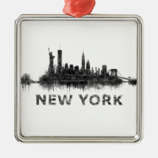 New York Dark-White Skyline v07 Silver-Colored Square Ornament