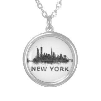 New York Dark-White Skyline v07 Silver Plated Necklace