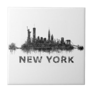 New York Dark-White Skyline v07 Tile