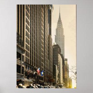 New York, E 42 St and Chrysler Building Poster