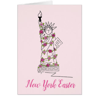 New York Easter Pink Rose Statue of Liberty NYC Card