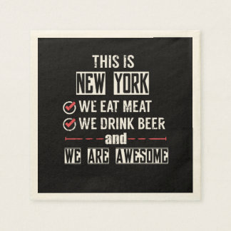 New York Eat Meat Drink Beer Awesome Napkin