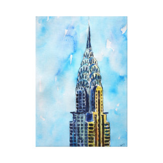 New York Empire State Building -Watercolor Art Canvas Print