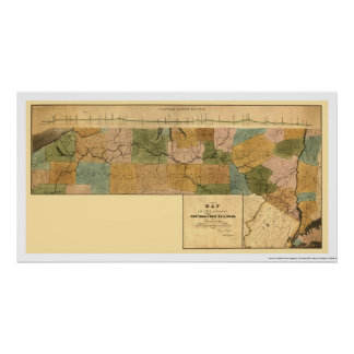 New York & Erie Railroad Map 1834 Poster