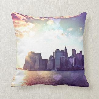 New York Fairy Tale - Rainbow Heart Bokeh Throw Pillow