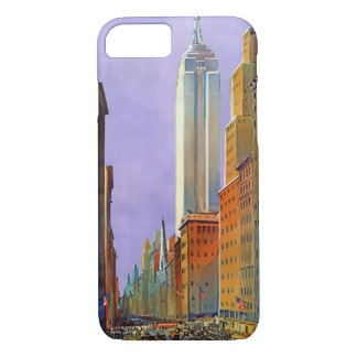 New York Fifth Avenue Retro Vintage Travel Poster iPhone 7 Case