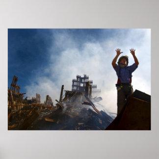 New York Fireman in Rubble of  World Trade Center Poster