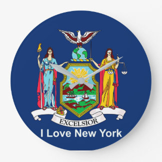New York Flag for Round-Large-Wall-Clock Wall Clocks