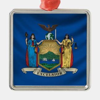 New York Flag Silver-Colored Square Ornament