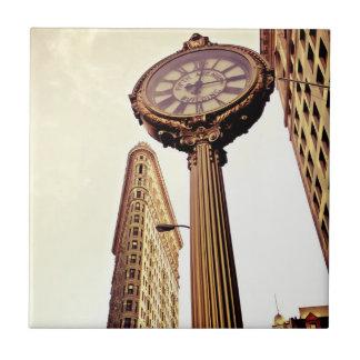 New York - Flatiron Building and Clock Ceramic Tiles
