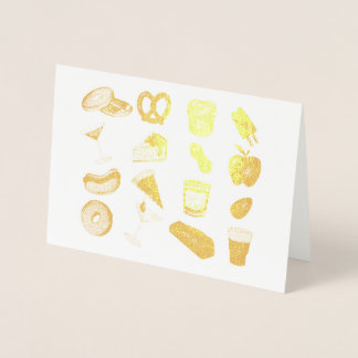 New York Foodie Classic NYC Foods Pizza Bagel Foil Card