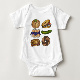 New York Foodie NYC Jewish Deli Pickle Bagel Knish Baby Bodysuit