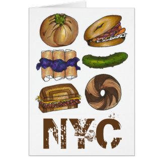 New York Foodie NYC Jewish Deli Pickle Bagel Knish Card