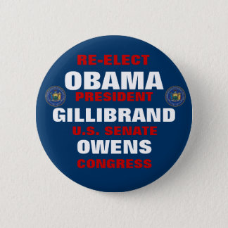 New York for Obama Gillibrand Owens 2 Inch Round Button
