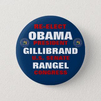 New York for Obama Gillibrand Rangel 2 Inch Round Button