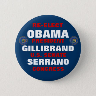 New York for Obama Gillibrand Serrano 2 Inch Round Button