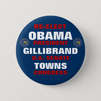 New York for Obama Gillibrand Towns 2 Inch Round Button