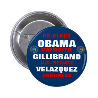 New York for Obama Gillibrand Velazquez 2 Inch Round Button
