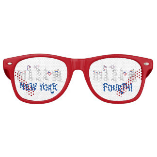 New York Fourth! NYC July 4th Patriotic Fireworks Party Sunglasses