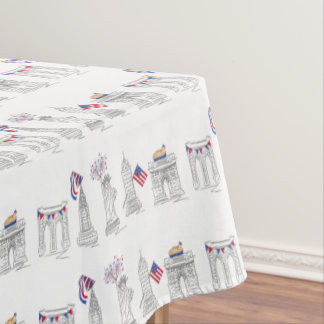 New York Fourth! NYC July 4th Patriotic Fireworks Tablecloth