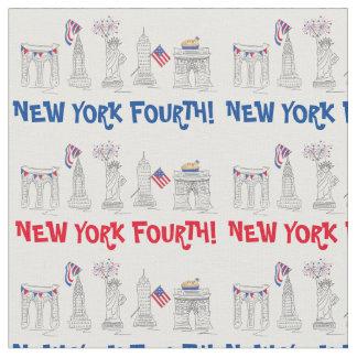 New York Fourth! Patriotic July 4th NYC Fireworks Fabric