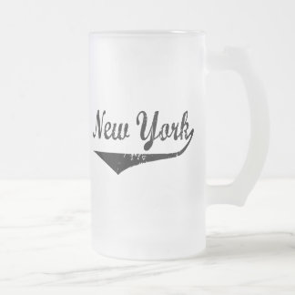 New York Frosted Glass Beer Mug