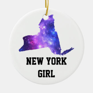 New York Galaxy Empire State Round Ceramic Ornament
