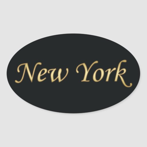 New York Gold - On Black Oval Stickers