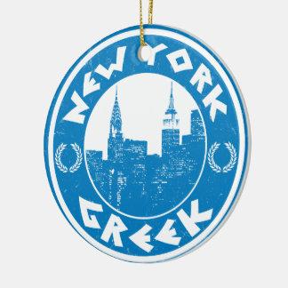 New York Greek American Round Ceramic Ornament