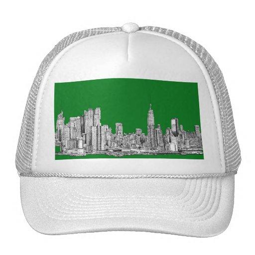 New York green drawing Hats