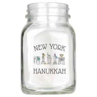 New York Hanukkah NYC Landmarks Jewish Holiday Mason Jar