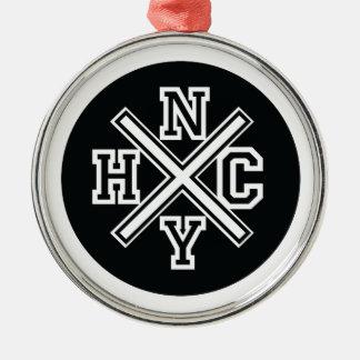 New York Hardcore Silver-Colored Round Ornament