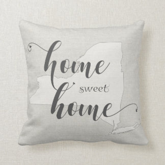 New York - Home Sweet Home burlap-look Throw Pillow