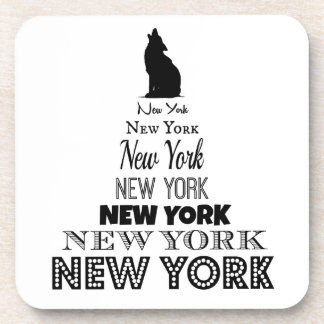 New York Howling, Dog Coyote, Wolf - I love NY Beverage Coasters