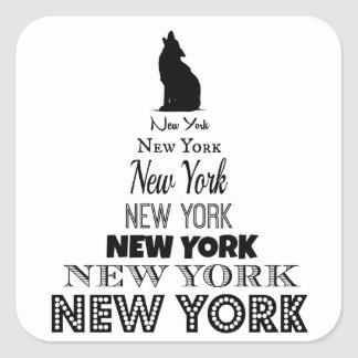New York Howling, Dog Coyote, Wolf - I love NY Square Sticker