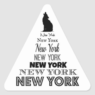 New York Howling, Dog Coyote, Wolf - I love NY Triangle Sticker
