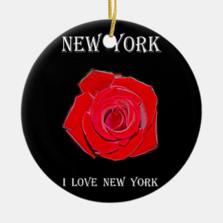 New York I Love New York Round Ceramic Ornament
