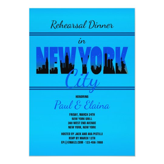 New York in Blue Invitation