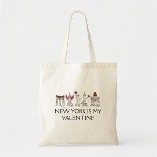 New York Is My Valentine Love NYC Landmarks Tote Budget Tote Bag