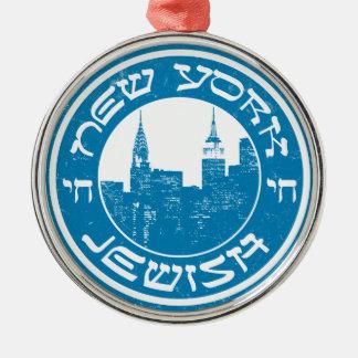 New York Jewish Silver-Colored Round Ornament