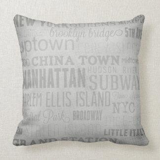 New York Key Words Throw Pillow