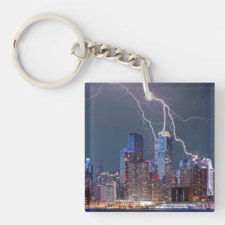 New York Lightning Storm Single-Sided Square Acrylic Keychain