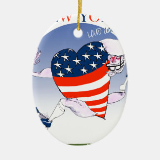 new york loud and proud, tony fernandes ceramic oval ornament