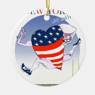 new york loud and proud, tony fernandes round ceramic ornament