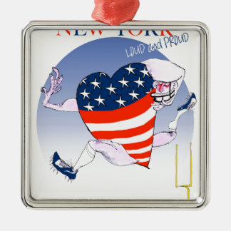 new york loud and proud, tony fernandes Silver-Colored square ornament